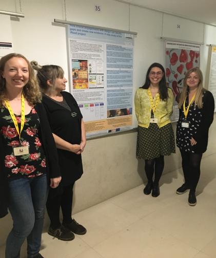 Dr Emma Sumner, Liz Herbert, Laura Benton & Nelly Joye (iread team) presenting their poster