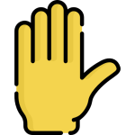 raised hand to indicate taking part